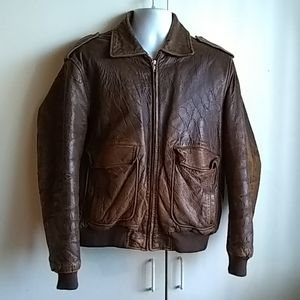 Adam Spencer Leather Aviator Jacket Mens 44 Full Z